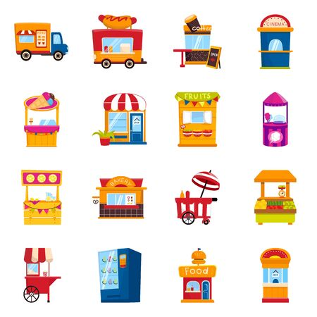 Vector design of and booth icon. Collection of and vending vector icon for stock.