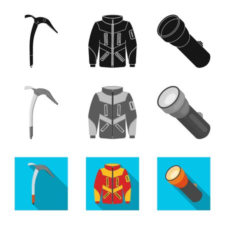 Vector design of mountaineering and peak symbol. Set of mountaineering and camp vector icon for stock. Illustration