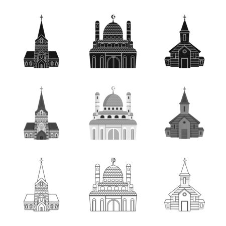 Vector design of cult and temple. Set of cult and parish stock symbol for web.