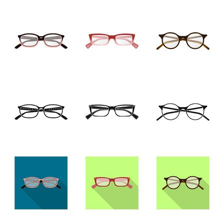 Isolated object of glasses and frame symbol. Collection of glasses and accessory stock vector illustration.