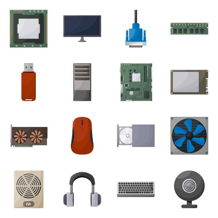 Vector design of computer and hardware symbol. Collection of computer and component vector icon for stock.