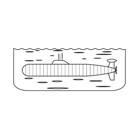 Isolated object of boat and navy. Set of boat and deep stock vector illustration.
