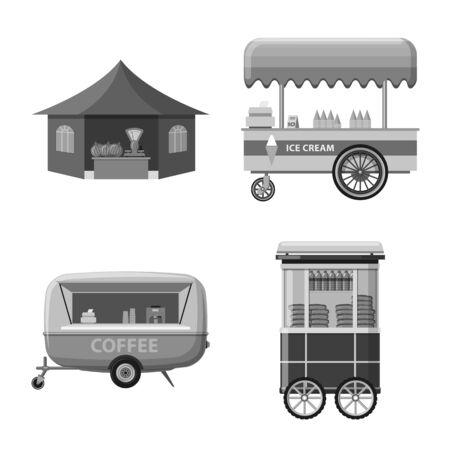 Vector illustration of market and exterior. Set of market and food stock vector illustration.