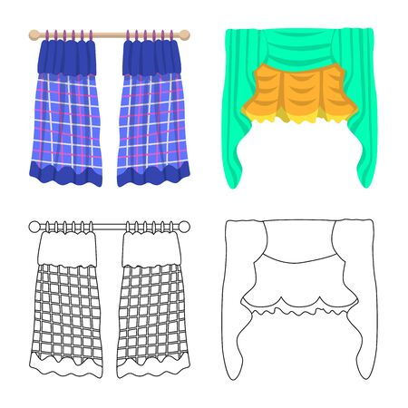 Vector design of curtains and drapes sign. Set of curtains and blinds stock symbol for web.