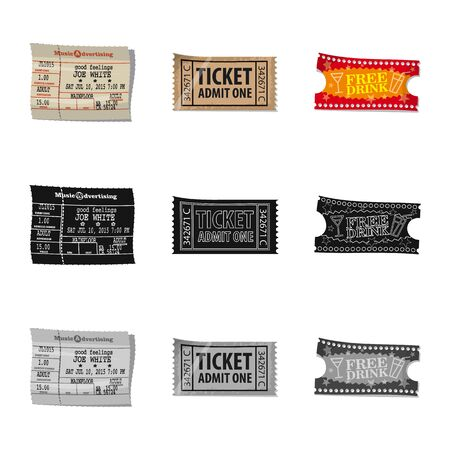 Vector illustration of ticket and admission icon. Collection of ticket and event vector icon for stock.