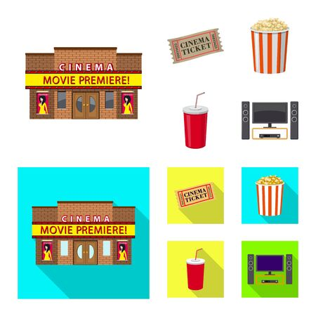 Vector design of television and filming. Collection of television and viewing vector icon for stock.