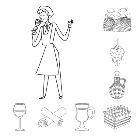 Isolated object of drink and manufacturing. Collection of drink and restaurant stock vector illustration.