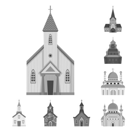 Isolated object of architecture and faith. Set of architecture and traditional stock symbol for web.