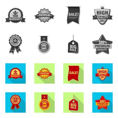 Vector illustration of emblem and badge symbol. Set of emblem and sticker stock symbol for web. Ilustrace