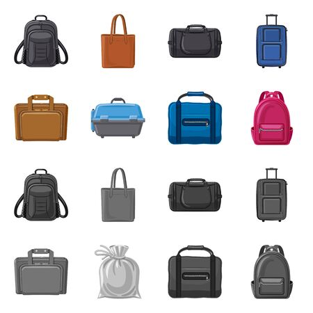 Vector design of suitcase and baggage. Set of suitcase and journey stock symbol for web.