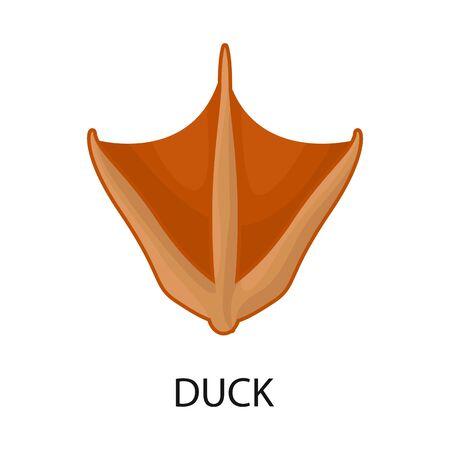 Vector illustration of duck and paw symbol. Set of duck and silhouette stock vector illustration. Ilustracje wektorowe