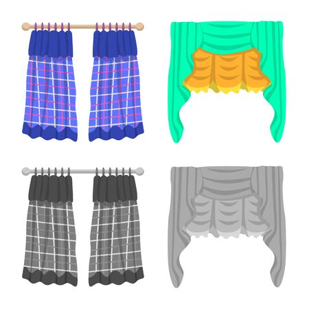 Vector illustration of curtains and drapes icon. Set of curtains and blinds stock vector illustration.