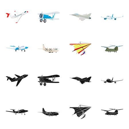 Vector design of plane and transport. Collection of plane and sky stock vector illustration. Banque d'images - 126610682