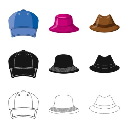 Vector design of headgear and cap icon. Collection of headgear and accessory stock vector illustration. Иллюстрация