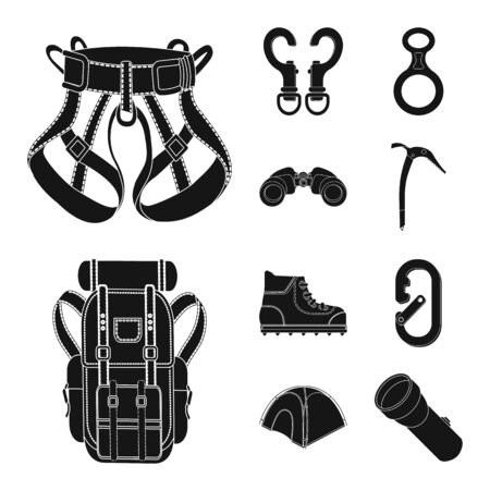 Isolated object of mountaineering and peak. Collection of mountaineering and camp vector icon for stock.