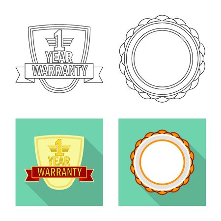 Vector design of emblem and badge. Collection of emblem and sticker vector icon for stock.