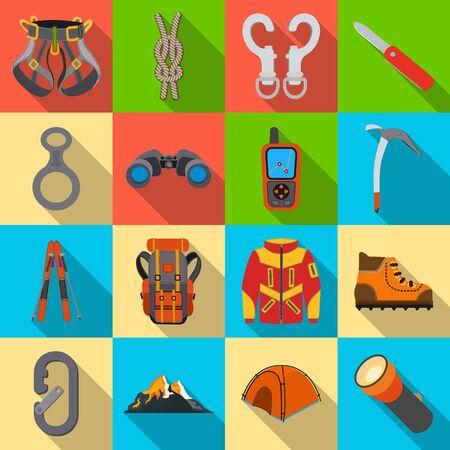 Vector illustration of mountaineering and peak. Set of mountaineering and camp stock symbol for web.