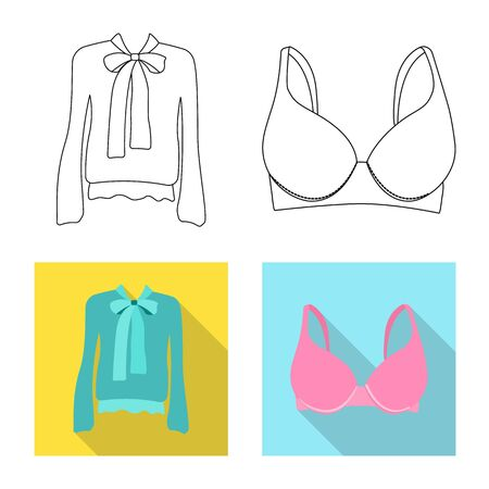 Vector illustration of woman and clothing sign. Set of woman and wear stock vector illustration. Stock Illustratie