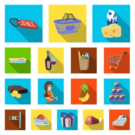 Isoliertes Objekt des Symbols für Essen und Trinken. Sammlung von Lebensmitteln und Lagerbestandssymbolen für das Web.