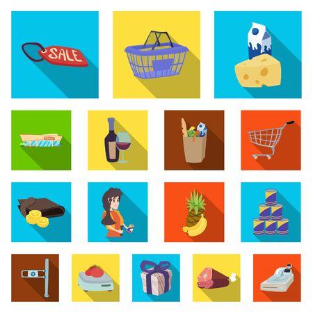 Oggetto isolato dell'icona di cibi e bevande. Raccolta di cibo e negozio simbolo azionario per il web.