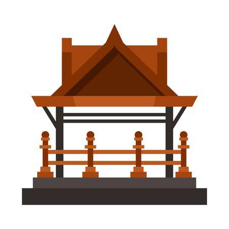 Vector illustration of gazebo and nature sign. Collection of gazebo and architecture vector icon for stock. Ilustración de vector