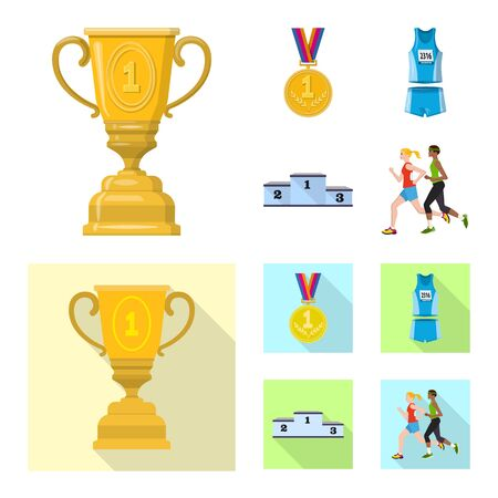 Vector illustration of sport and winner. Collection of sport and fitness stock symbol for web.