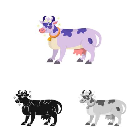 Vector illustration of cow and milk symbol. Set of cow and dairy stock symbol for web.