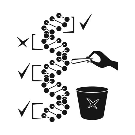 Vector illustration of dna and gene symbol. Set of dna and biotechnology vector icon for stock.