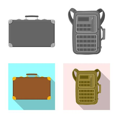 Vector illustration of suitcase and baggage symbol. Collection of suitcase and journey stock vector illustration.