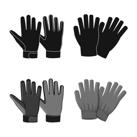Isolated object of glove and winter icon. Collection of glove and equipment stock symbol for web.