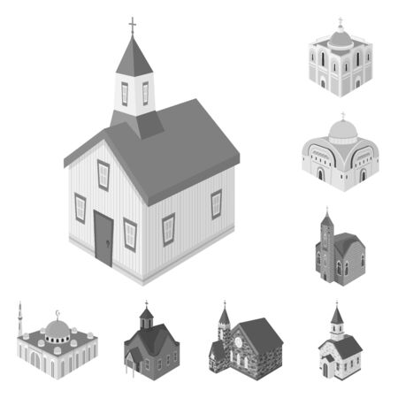 Vector illustration of landmark and clergy. Collection of landmark and religion stock vector illustration.