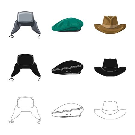 Vector design of headgear and cap. Collection of headgear and accessory vector icon for stock.