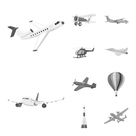 Vector illustration of plane and transport symbol. Collection of plane and sky stock symbol for web.