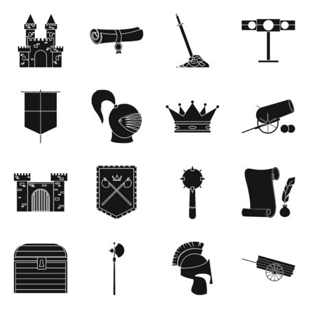Vector illustration of traditional and renaissance. Set of traditional and history vector icon for stock.