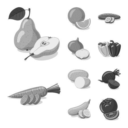 Isolated object of vegetable and fruit symbol. Collection of vegetable and vegetarian stock vector illustration. Ilustracja