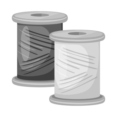 Isolated object of thread and spool sign. Collection of thread and reel vector icon for stock.
