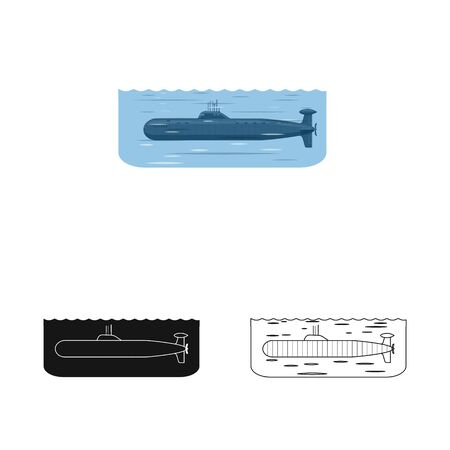 Vector design of war and ship icon. Set of war and fleet stock symbol for web. Ilustracja