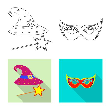 Vector illustration of party and birthday sign. Set of party and celebration stock symbol for web. 向量圖像