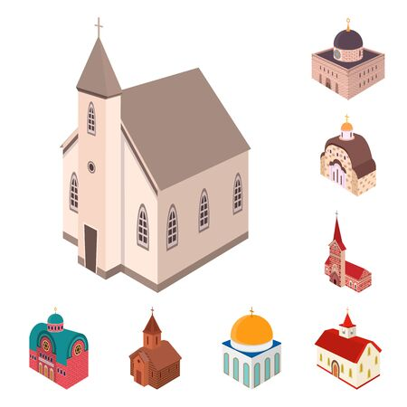 Isolated object of architecture and building symbol. Set of architecture and clergy stock vector illustration.