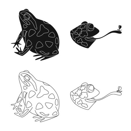 Isolated object of wildlife and bog icon. Collection of wildlife and reptile vector icon for stock.