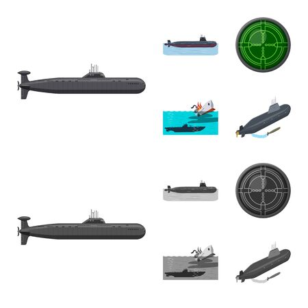 Vector illustration of war and ship. Set of war and fleet vector icon for stock. 일러스트
