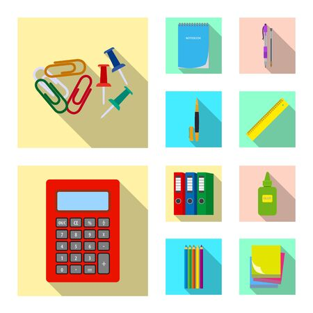Vector illustration of office and supply symbol. Set of office and school stock vector illustration.  イラスト・ベクター素材
