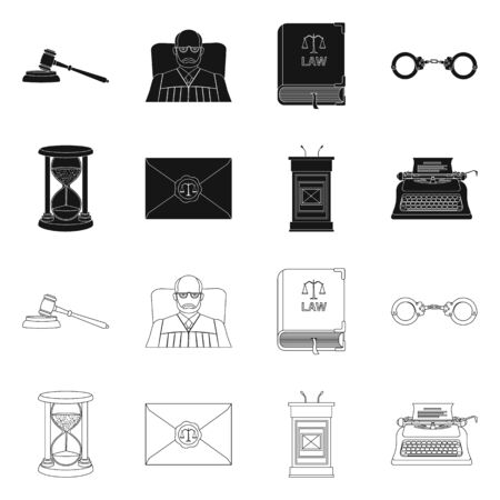 Vector design of law and lawyer sign. Collection of law and justice stock vector illustration.