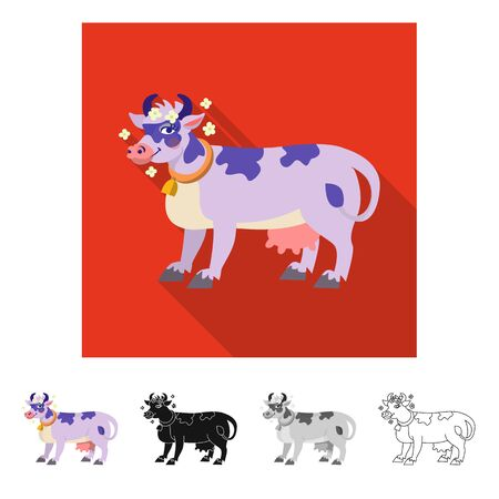 Vector illustration of cow and milk sign. Set of cow and dairy stock vector illustration. Imagens - 127000406