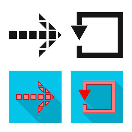 Vektor-Illustration von Element- und Pfeilsymbol. Sammlung von Element- und Richtungsvektorsymbolen für Lager. Vektorgrafik