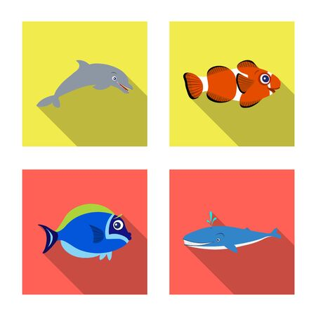Vector design of sea and animal symbol. Collection of sea and marine stock symbol for web. Stock Vector - 126784525
