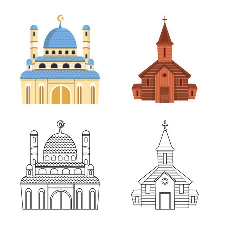 Isolated object of cult and temple icon. Set of cult and parish stock vector illustration.