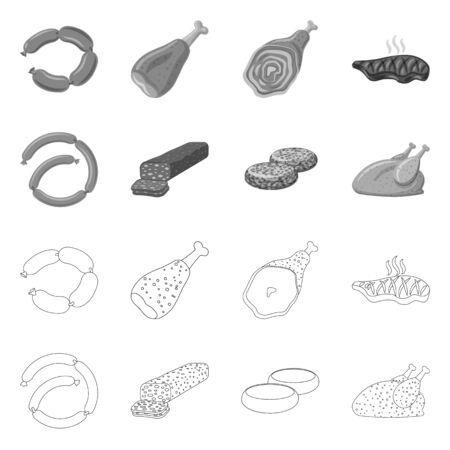 Isolated object of meat and ham symbol. Collection of meat and cooking vector icon for stock.