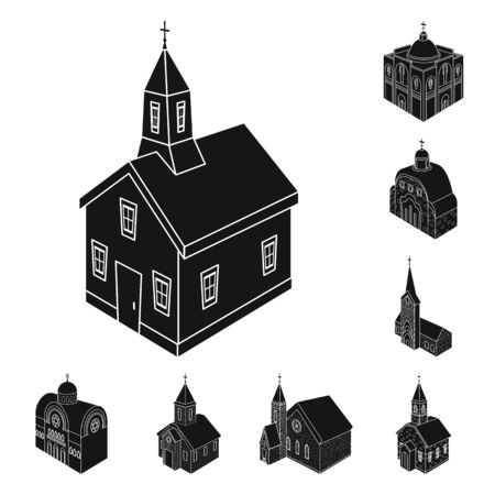Vector design of parish and faith icon. Collection of parish and building stock vector illustration. 向量圖像