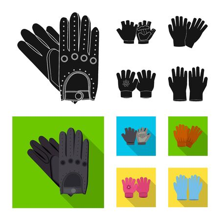 Vector design of glove and winter. Set of glove and equipment stock vector illustration.